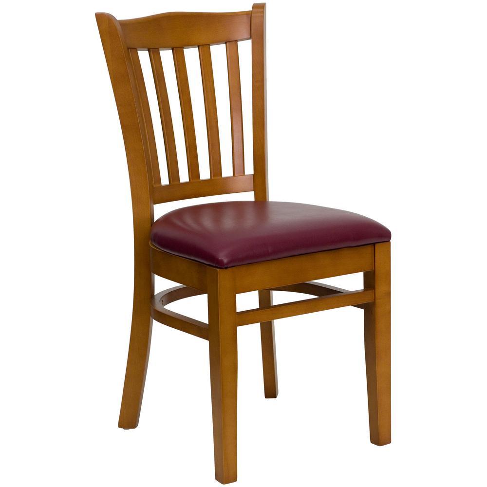 Flash Furniture Hercules Series Cherry Vertical Slat Back Wooden Restaurant