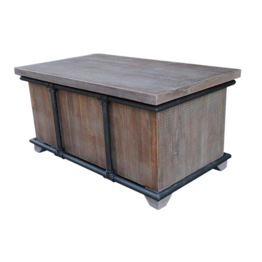 Noble House Reed Stained Ebony Brown Acacia Wood Storage Bench