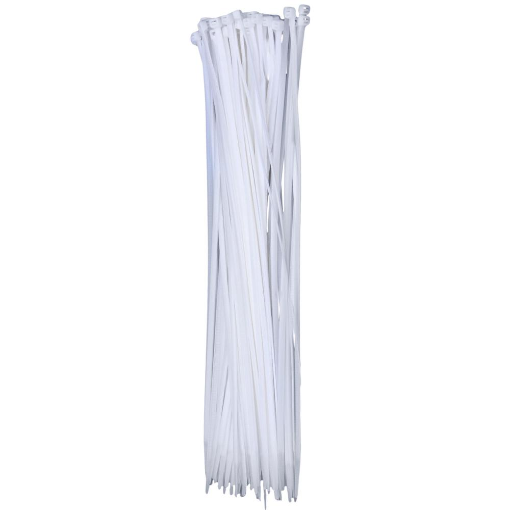 Self-Locking Cable Ties, 14 in., White (100-Pieces), Poly Bag