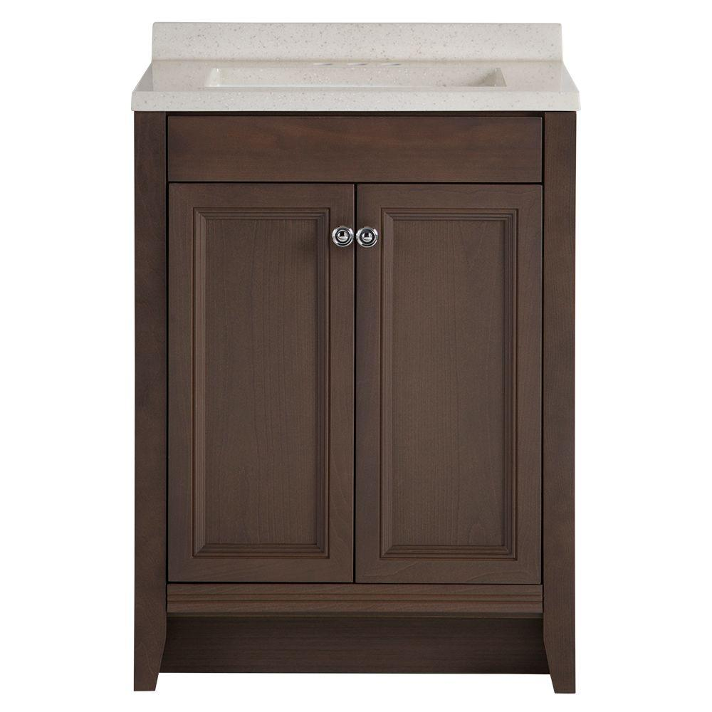 Glacier Bay Delridge 24 in. W x 19 in. D Bathroom Vanity in Flagstone with Solid Surface Vanity Top in Titanium with White Sink