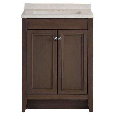 Delridge 24 in. W x 19 in. D Bathroom Vanity in Flagstone with Solid Surface Vanity Top in Titanium with White Sink