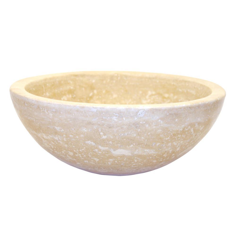 Merveilleux Eden Bath Small Round Stone Vessel Sink In Beige Travertine