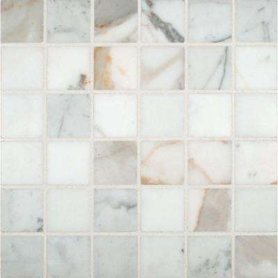 Calacatta Gold 12 in. x 12 in. x 10mm Polished Marble Mesh-Mounted Mosaic Tile (10 sq. ft. / case)