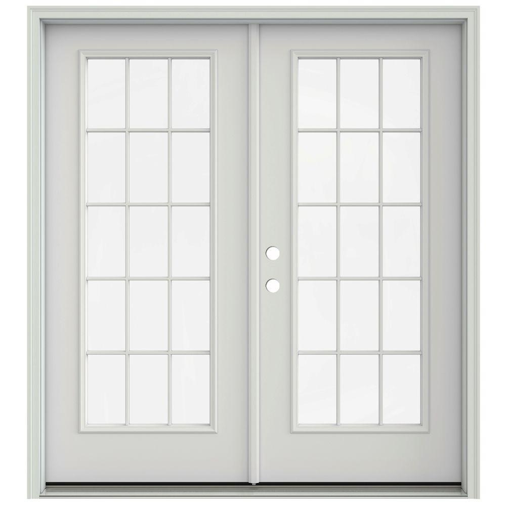 Jeld wen 72 in x 80 in primed prehung right hand inswing for Prehung french doors
