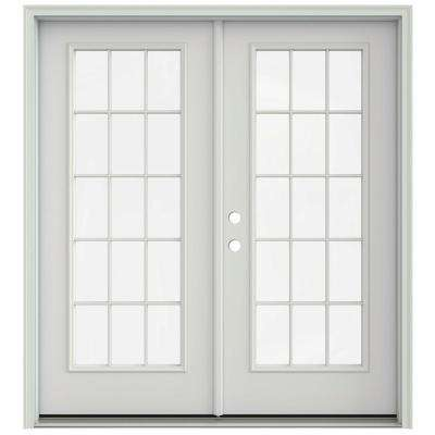 72 in. x 80 in. Primed Prehung Right-Hand Inswing 15 Lite French Patio Door with Brickmould