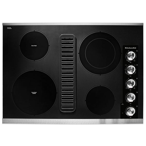 30 in. Electric Downdraft Cooktop in Stainless Steel with 4 Elements