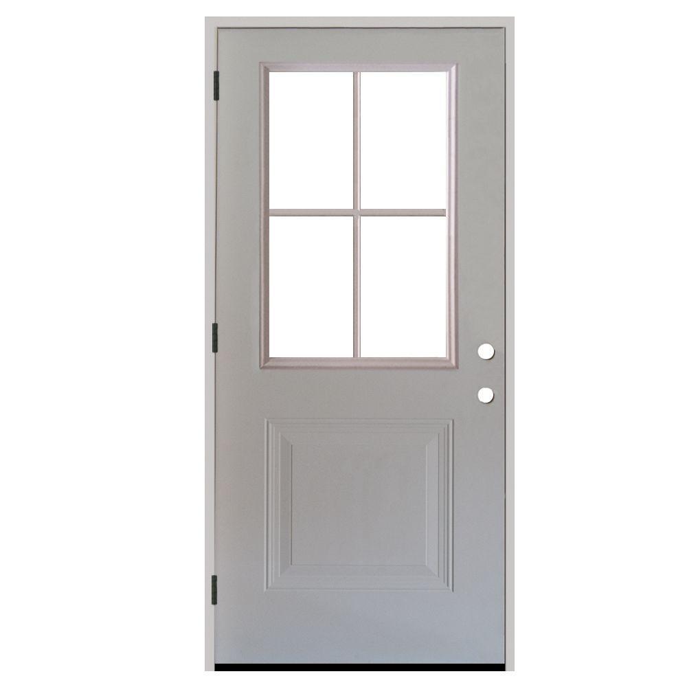 Premium 4 Lite 1-Panel Primed White Steel Prehung Front Door with 4 in. Wall