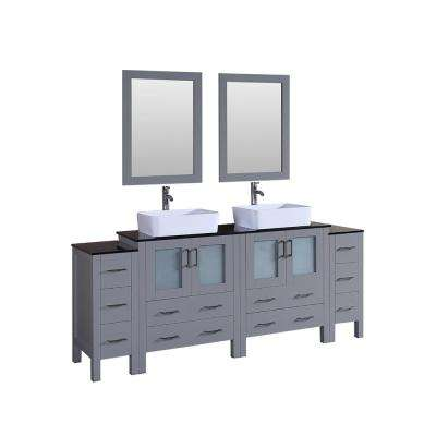 Bosconi 84 in. Double Vanity in Gray with Vanity Top in Black with White Basin and Mirror