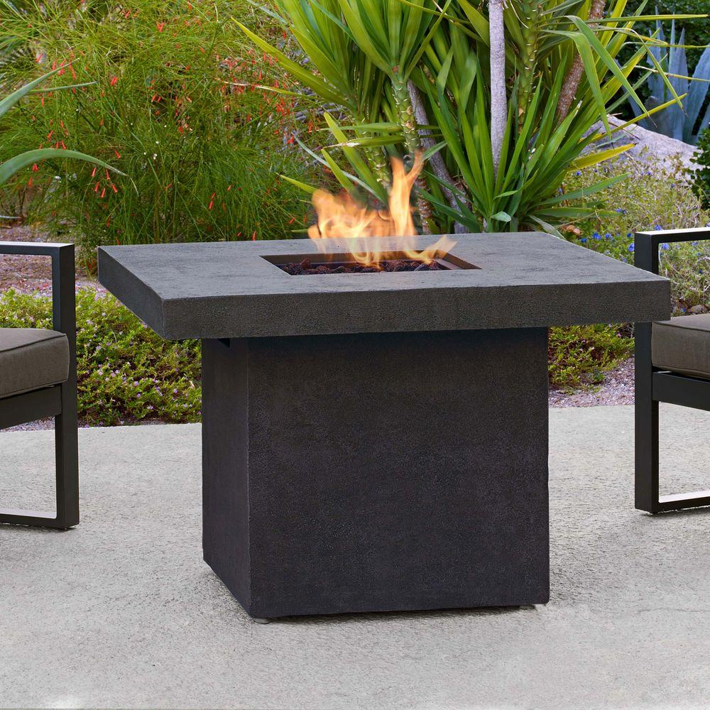 Fiber Concret Square Propane Gas Fire Table In Kodiak