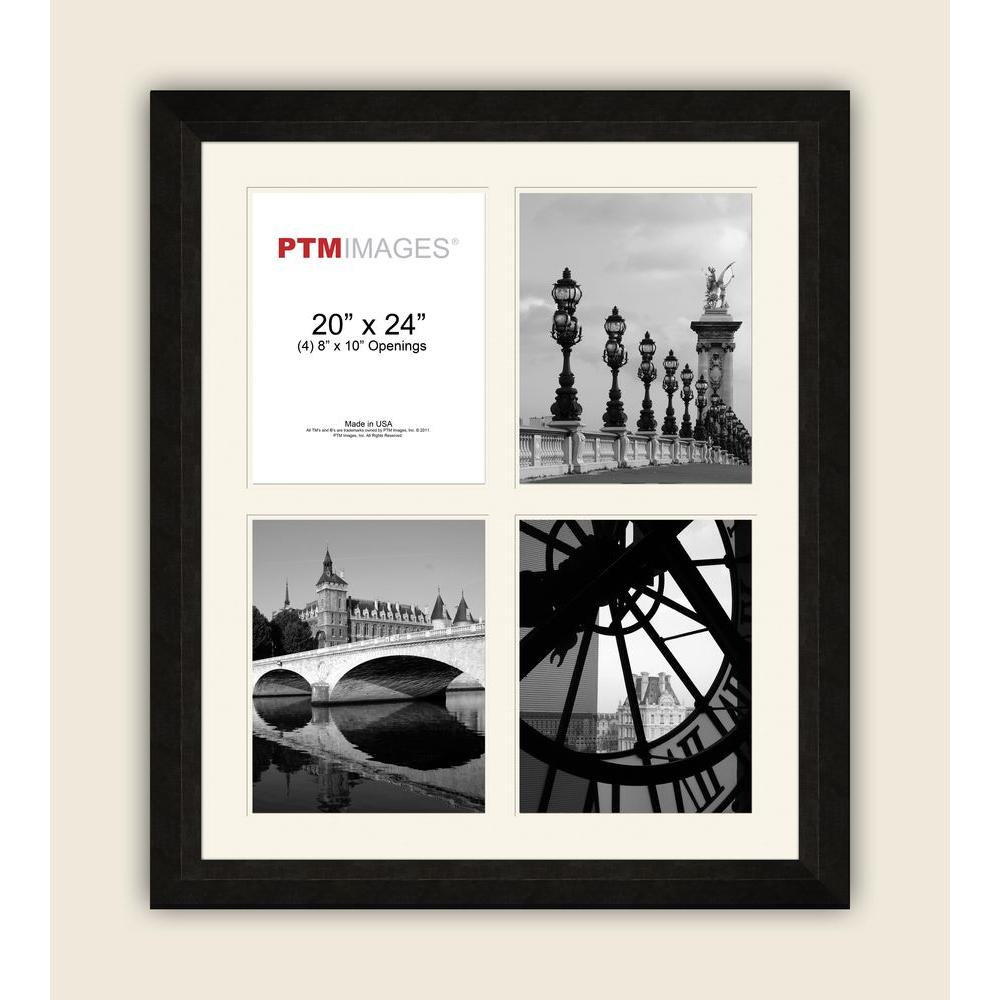 PTM Images 4-Opening 8 in. x 10 in. White Matted Black Photo Collage Frame
