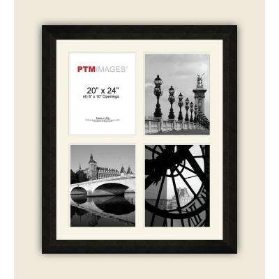 4-Opening 8 in. x 10 in. White Matted Black Photo Collage Frame