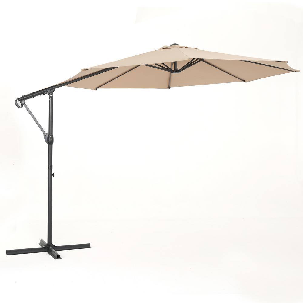 11.5 ft. Steel Cantilever Tilt Patio Umbrella in Sand