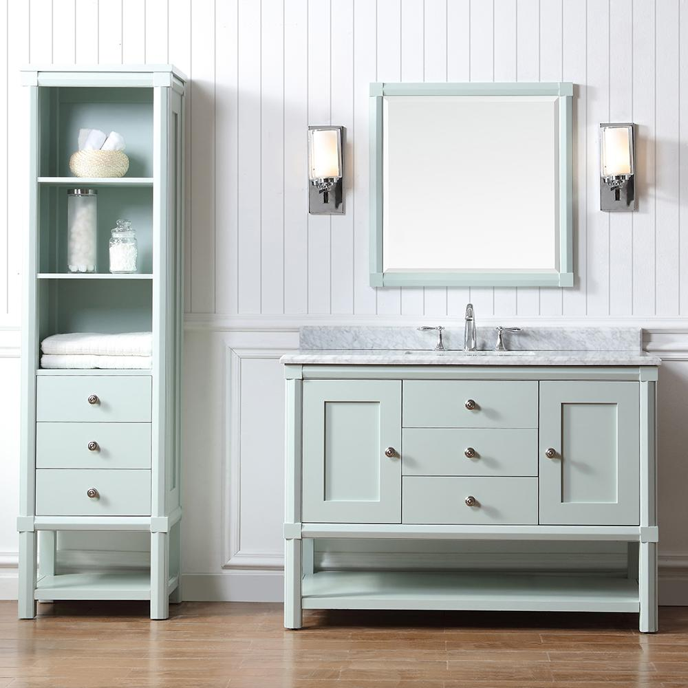 . Martha Stewart Living Sutton 48 in  W x 22 in  D Vanity in Rainwater with  Marble Vanity Top in White Grey with White Basin