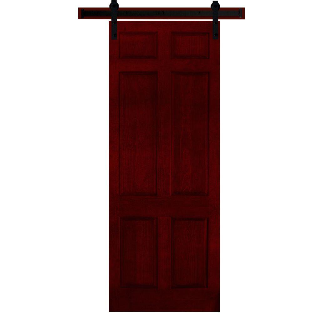 Steves & Sons 36 in. x 90 in. 6-Panel Painted Pine Interior Door Slab with Sliding Door Hardware