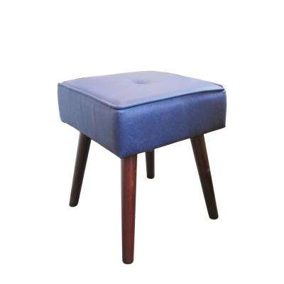 Robin Smoke Blue Foot Stool with Wooden Legs