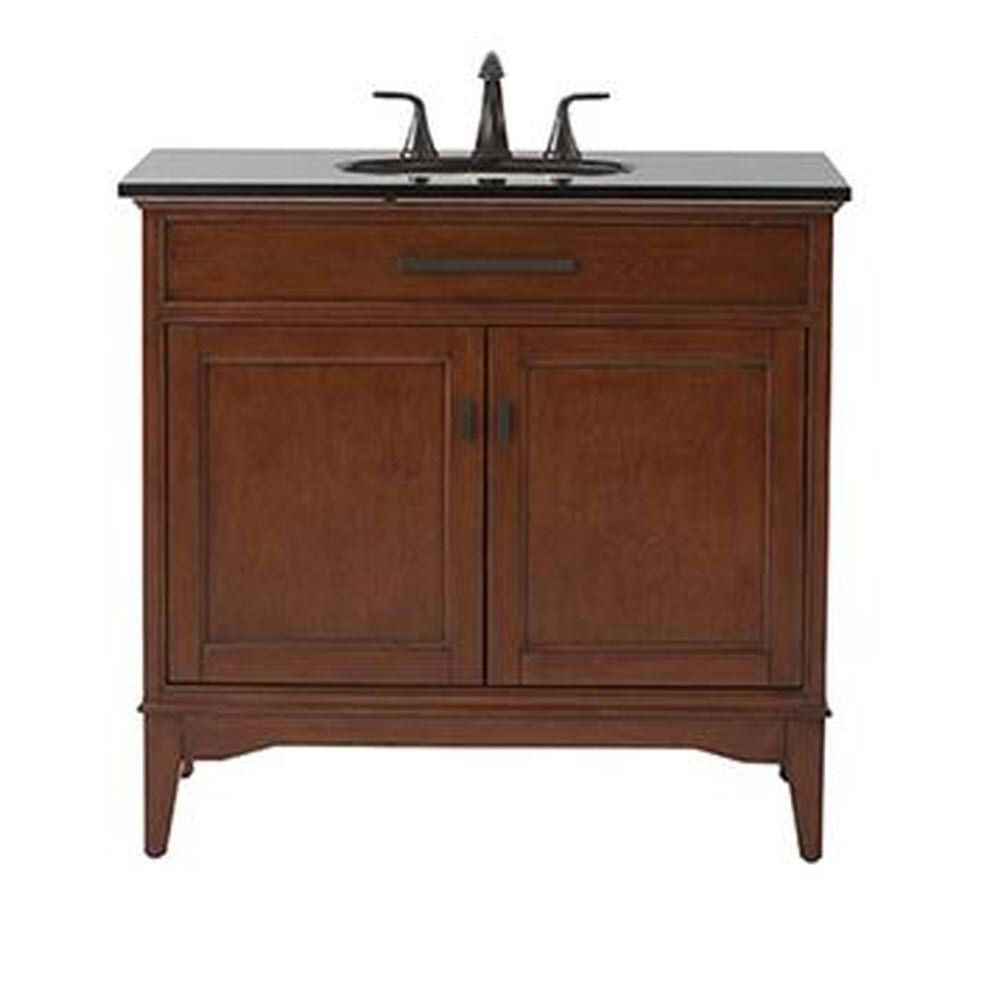 Home Decorators Collection Manor Grove 37 in. Vanity in Tobacco with Granite Vanity Top in Black with White Sink