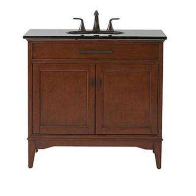 Manor Grove 37 in. Vanity in Tobacco with Granite Vanity Top in Black with White Sink