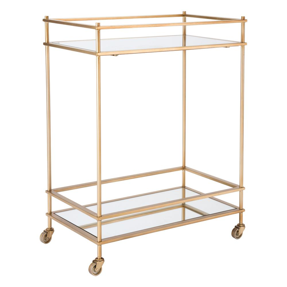 ZUO Mirrored Gold Bar Cart A10793 The Home Depot