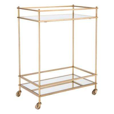 Mirrored Gold Bar Cart