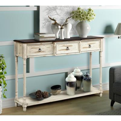 Beige Luxurious Console Table with 3-Drawer