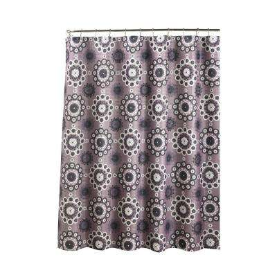 Oxford Weave Textured 70 in. W x 72 in. L Shower Curtain with Metal Roller Rings in Morrocan Tile Purple