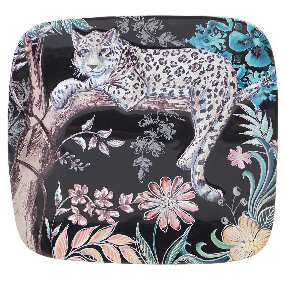 12.5 in. Multi-Colored  Stoneware Exotic Jungle Square Platter