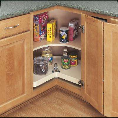 18 in. Almond Polymer Kidney Lazy Susan with Bottom mount