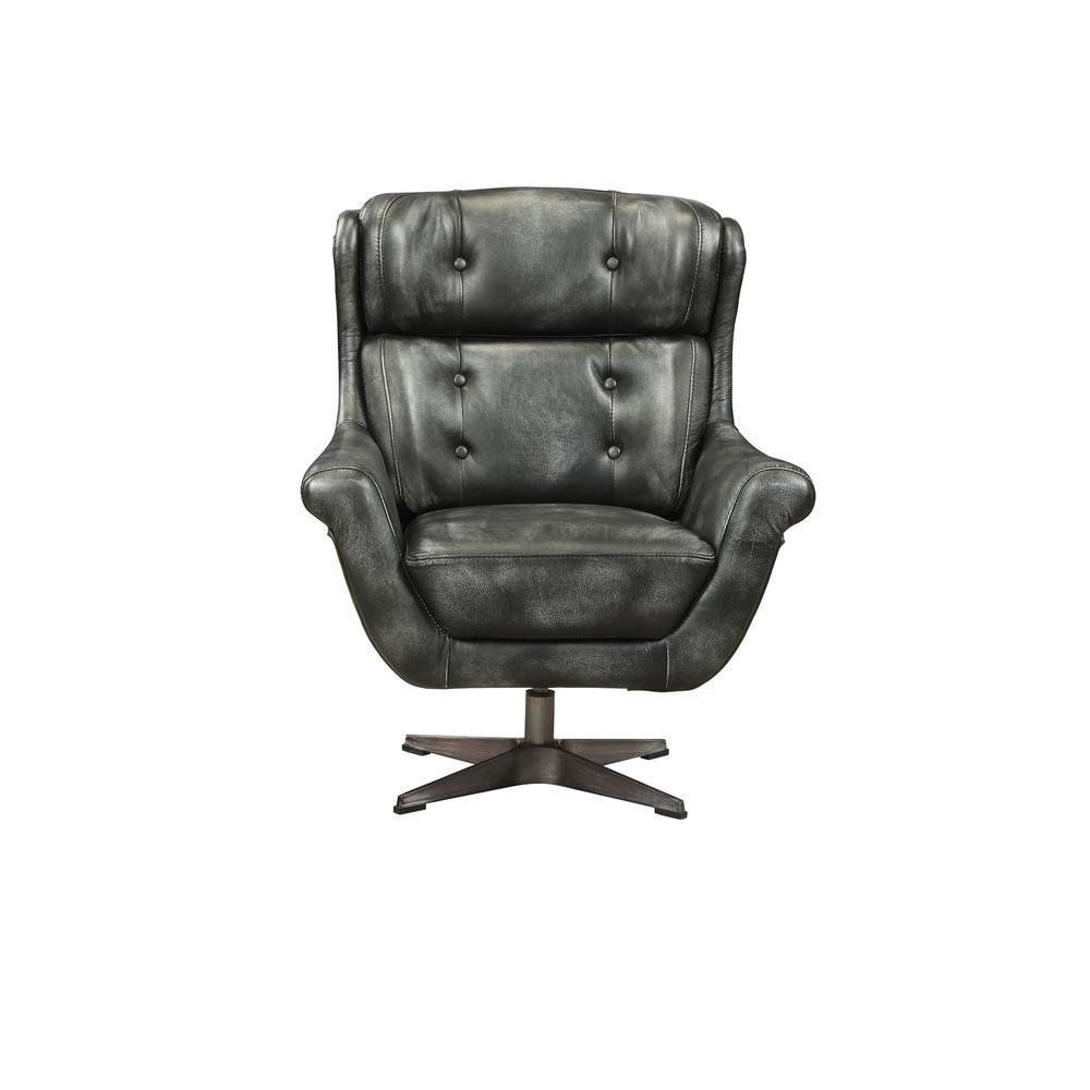 Asotin Vintage Black Top Grain Leather Accent Chair