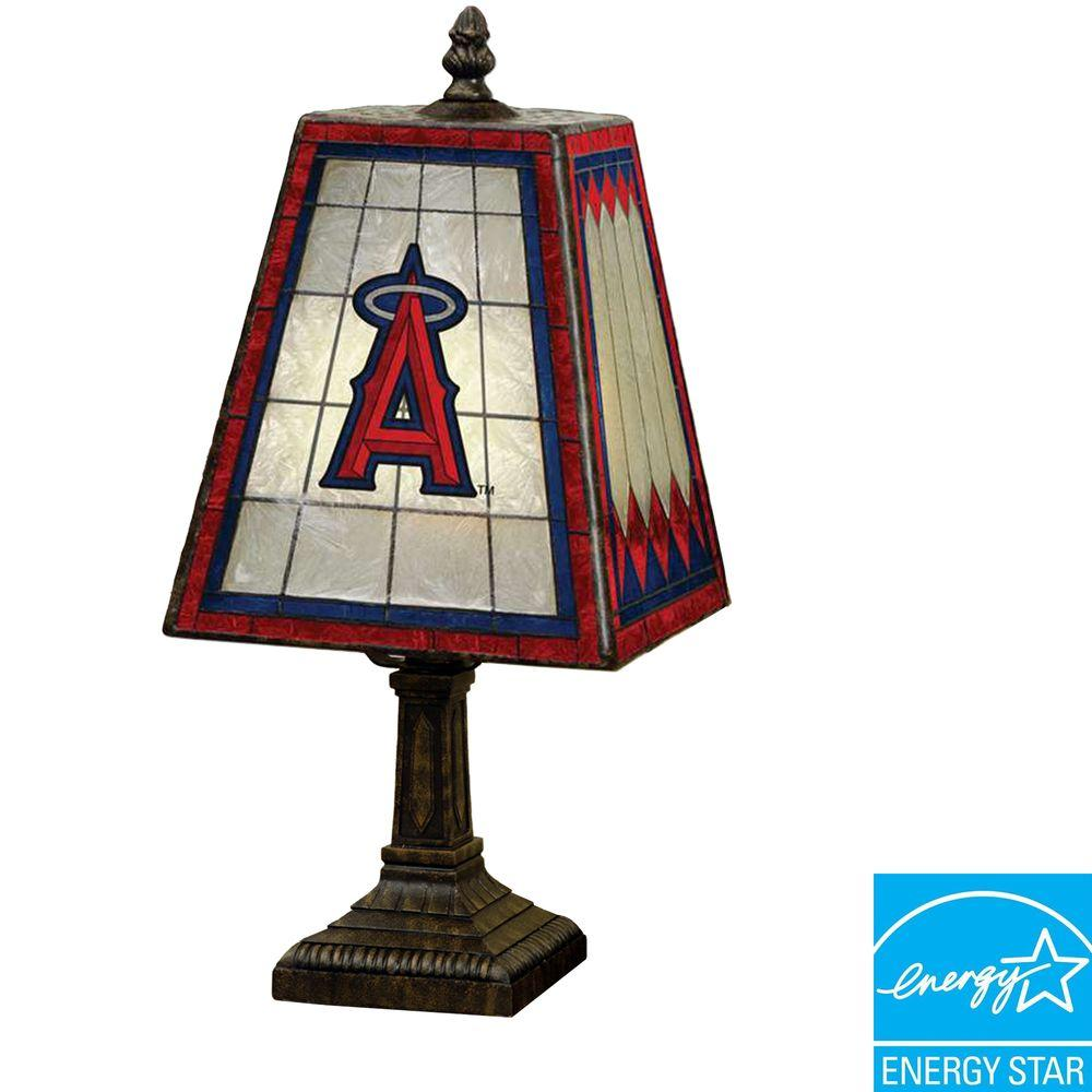 The Memory Company MLB 14 inch Art Glass Table Lamp - Anaheim Angels-DISCONTINUED