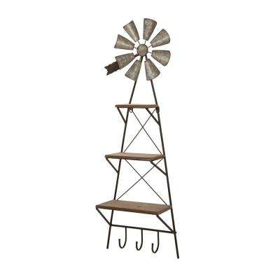 38.19 in. H Metal Rustic Farmhouse Style Wind Spinner Wall Shelf
