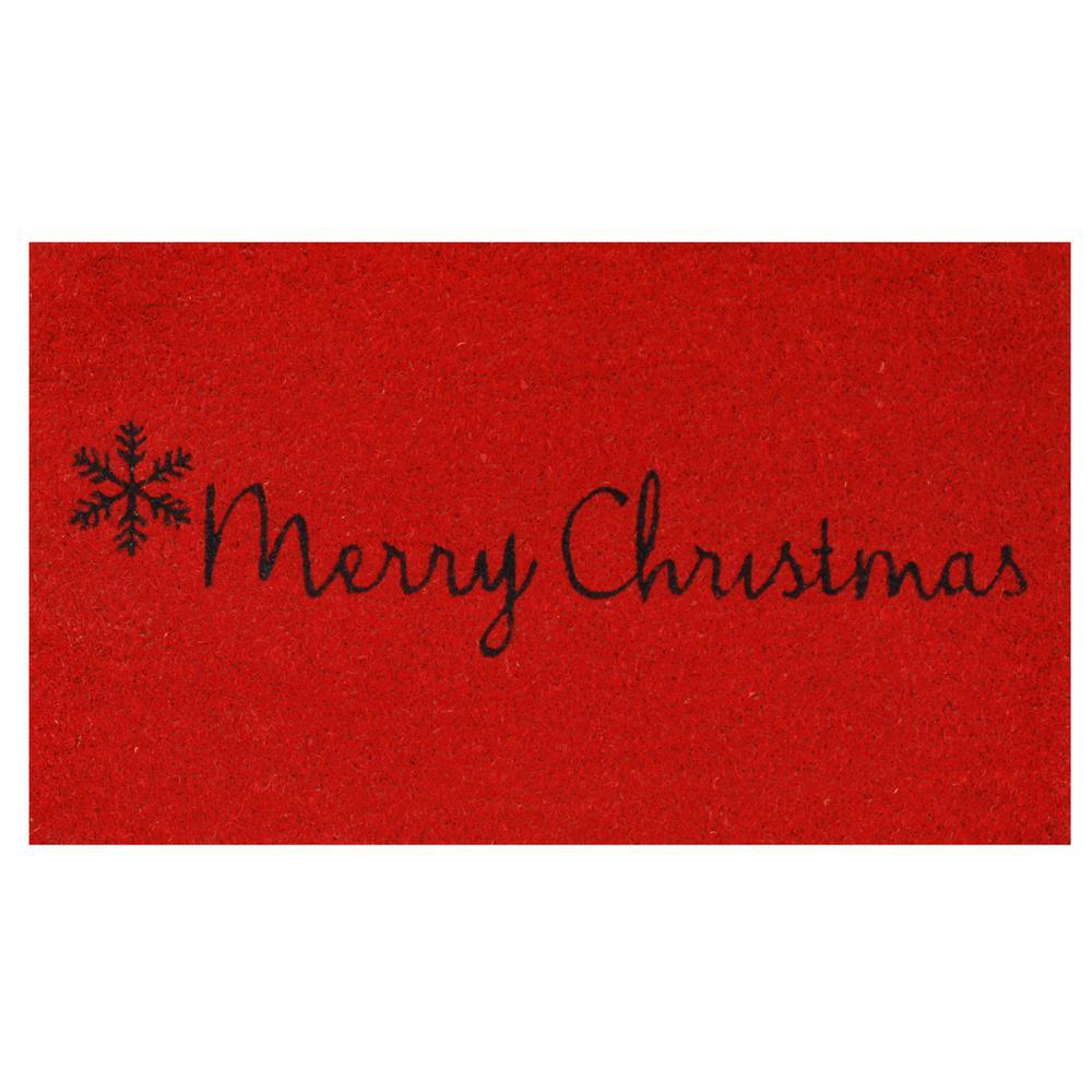 Red Merry Christmas 17 in. x 29 in. Coir Door Mat