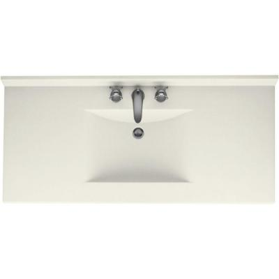 Contour 43 in. W x 22 in. D Solid Surface Vanity Top with Sink in Bisque