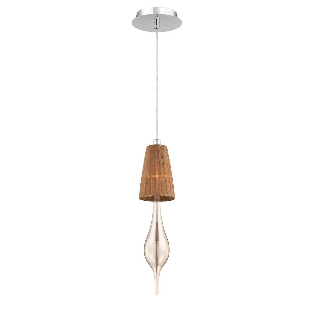 Aqua Collection 1-Light Chrome Pendant with Tea Shade and Champagne Glass