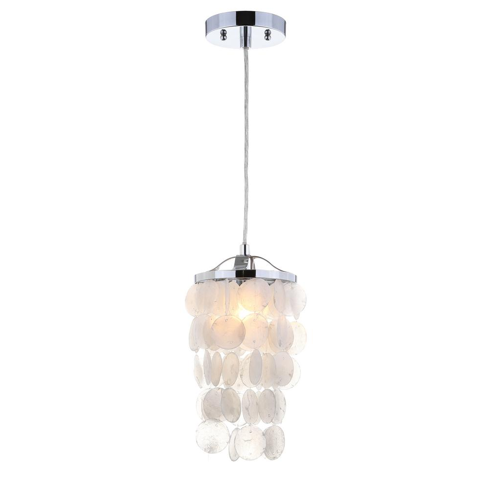 Jonathan Y Cayla 1 Light 7 In White Chrome Seashell Chandelier Pendant