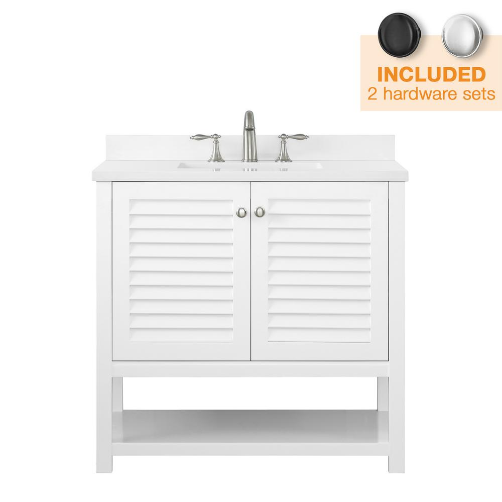 Home Decorators Collection Grace 36 in. W x 22 in. D Bath Vanity in White with Cultured Marble Vanity Top in White with White Basin