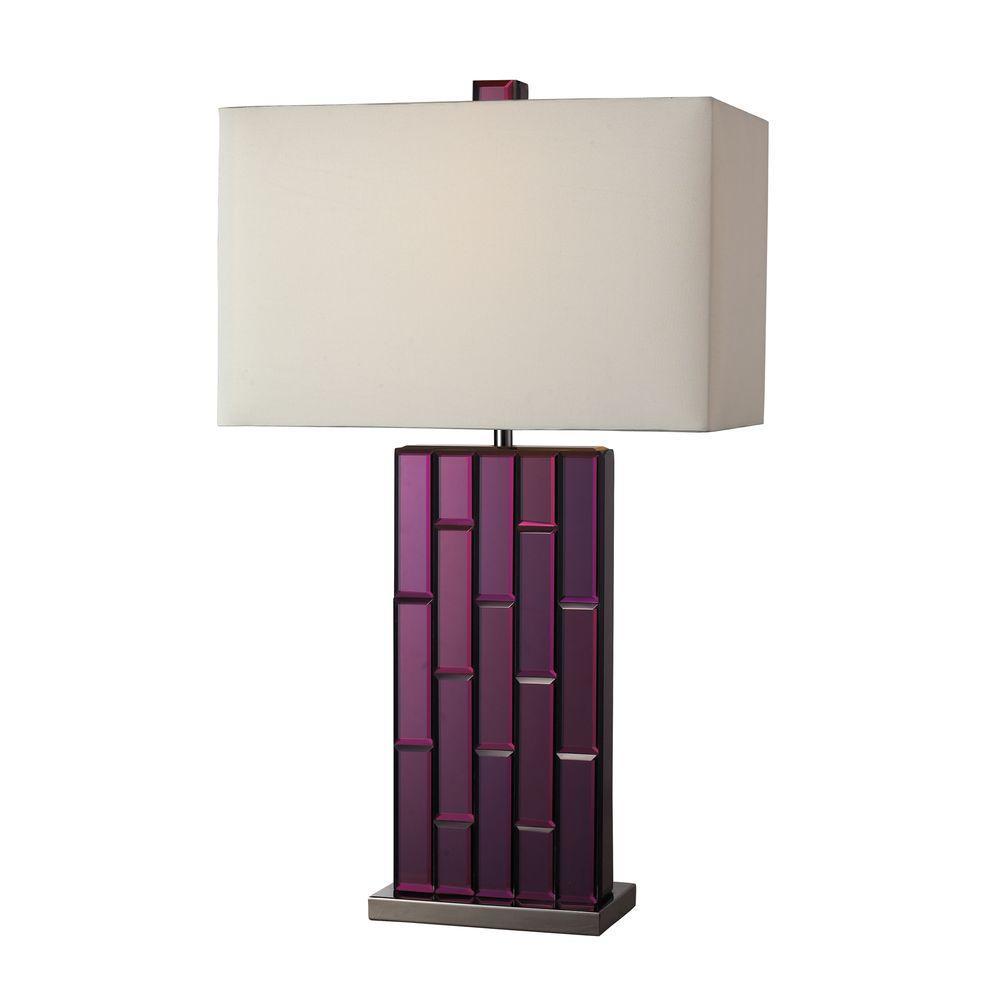 Titan Lighting Avalon 27 in. Purple Mirror and Black Nickel Table Lamp