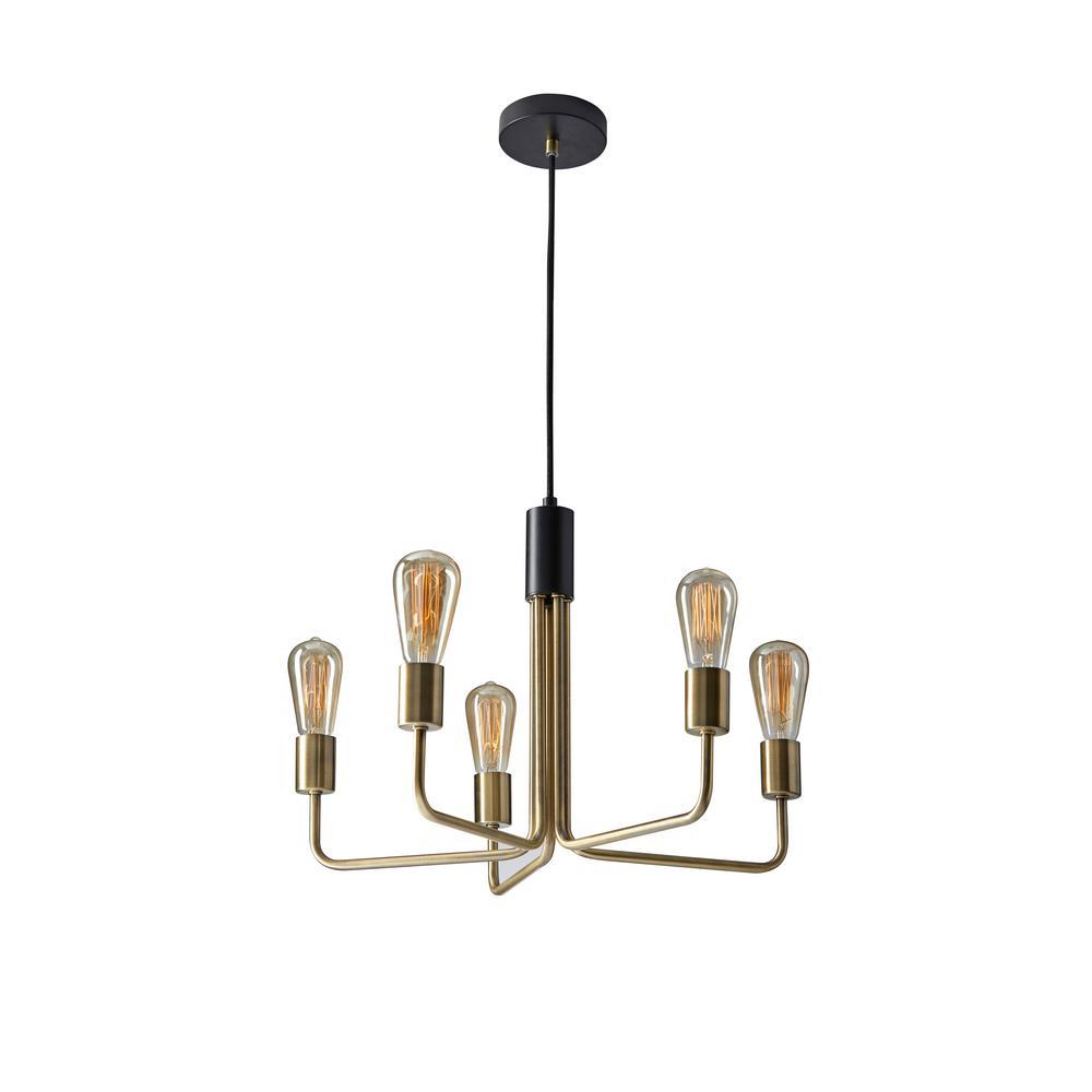 Weber 5-Light Brass Pendant