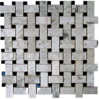black and white marble tile floor. Magnolia Weave White Carrera 3 4 In  X 2 With Black Dot 12x12 Marble Tile Natural Stone The Home Depot