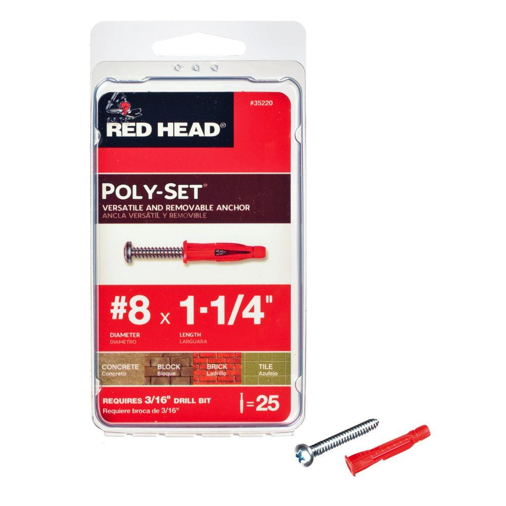 Red Head 1-1/4 in. Poly-Set Pan Head Phillips Light Duty Anchors with Screws (25-Pack)