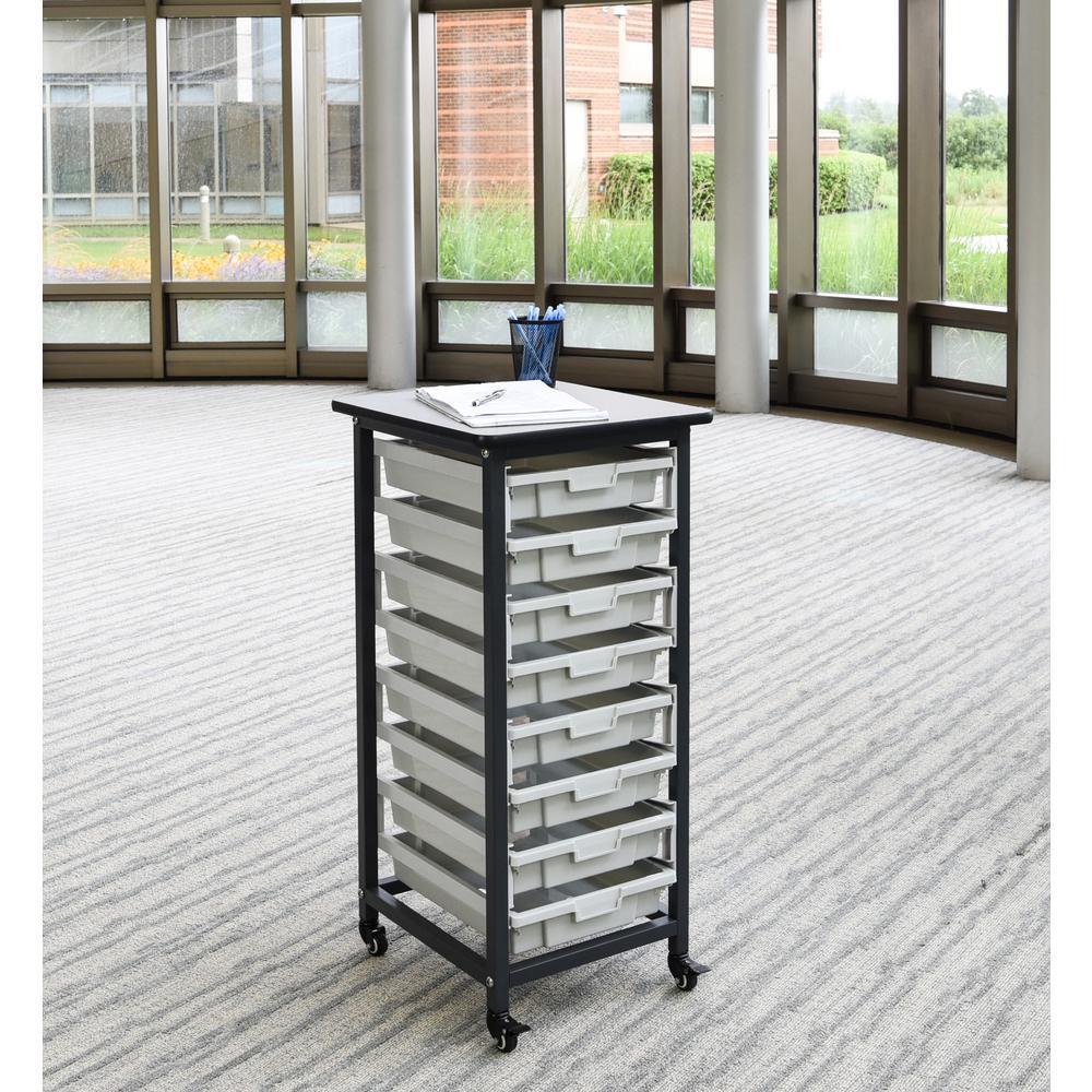 20 in. x 37 in. Mobile Bin Storage Cart Single Row and Single Bin in Black Frame