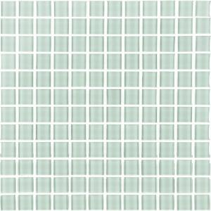 Metro Arctic Blue Grid Mosaic 1 in. x 1 in. Glossy Glass Mesh Mounted Wall Tile (1 Sq. ft.)