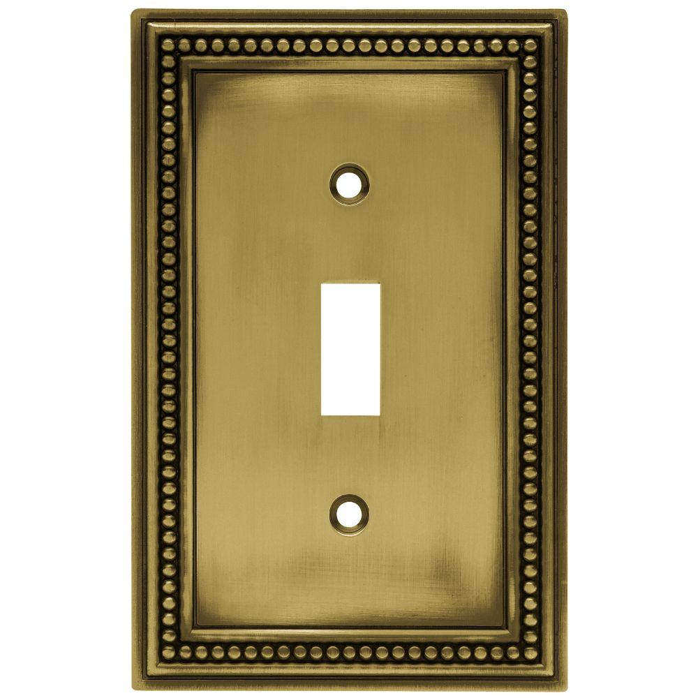 Hampton Bay Beaded Decorative Single Switch Plate, Tumbled Antique ...