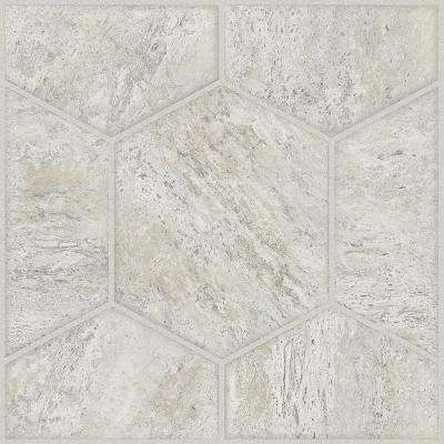 Take Home Sample - Lattice Cream Peel and Stick Vinyl Tile Flooring - 5 in. x 7 in.