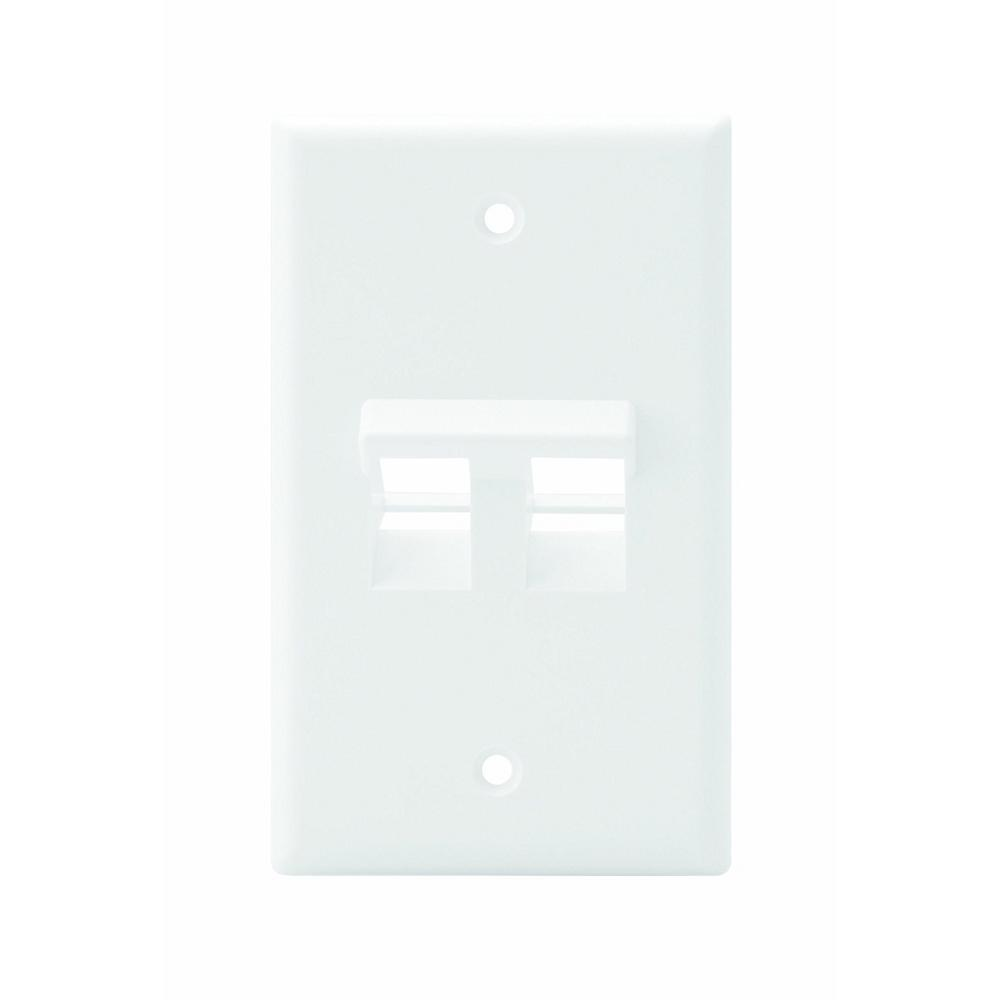 1-Gang QuickPort Standard Size 2-Port Angled Wallplate, White