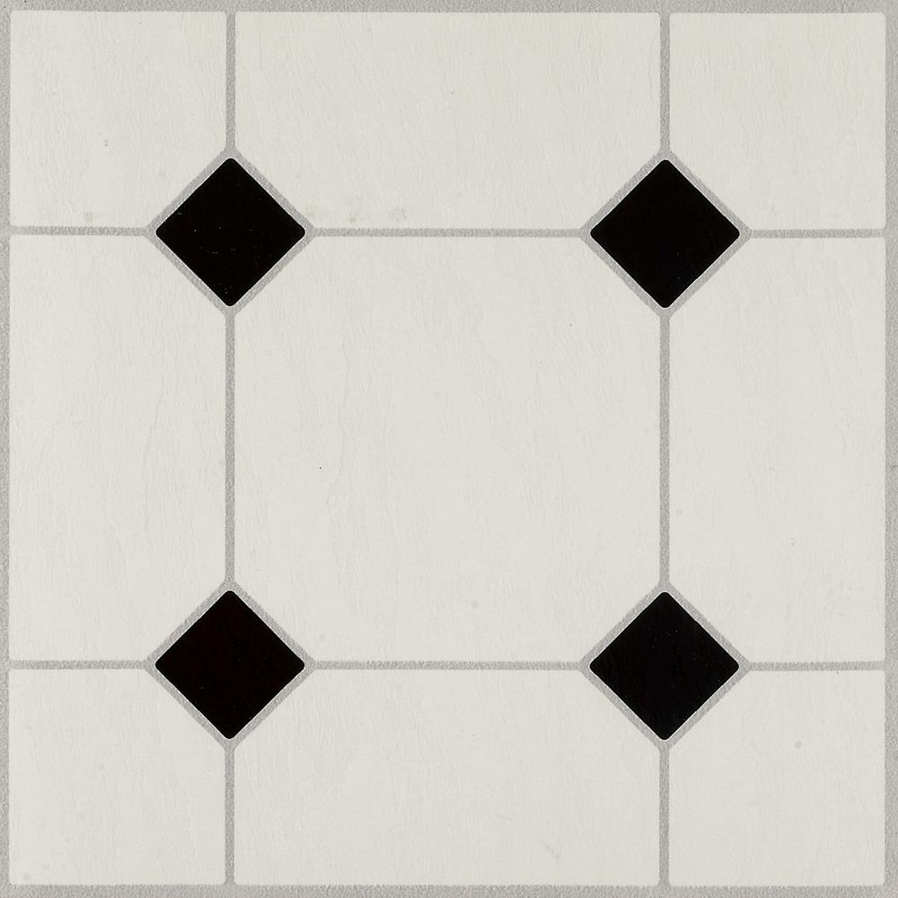 Armstrong diamond jubilee black white 12 in x 12 in for Black vinyl floor tiles