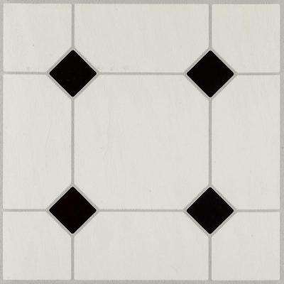 Diamond Jubilee Black/White 12 in. x 12 in. Residential Peel and Stick Vinyl Tile Flooring (45 sq. ft. / case)