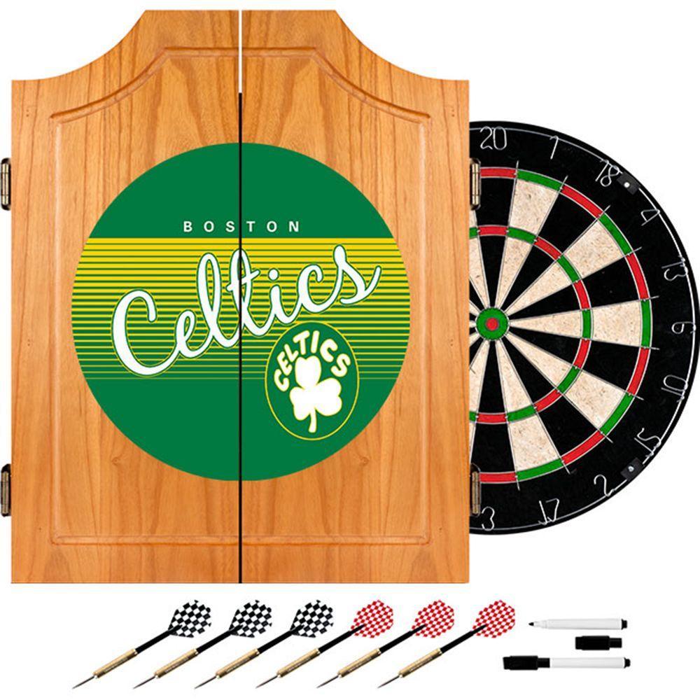 20.5 in. Boston Celtics Hardwood Classics NBA Wood Dart Cabinet Set