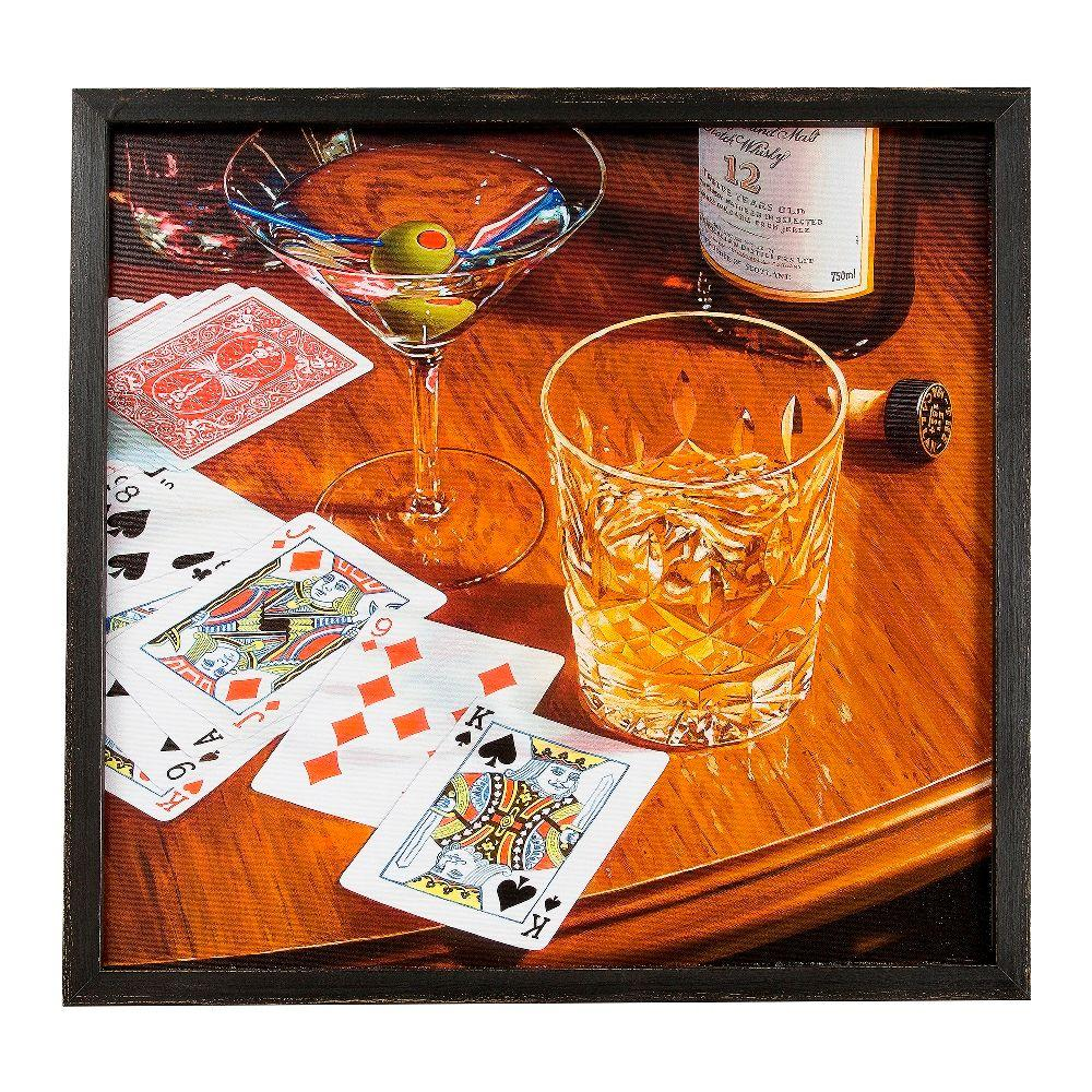 Onsia 24 in. x 24 in. Poker and Scotch Framed Wall Art with Speaker