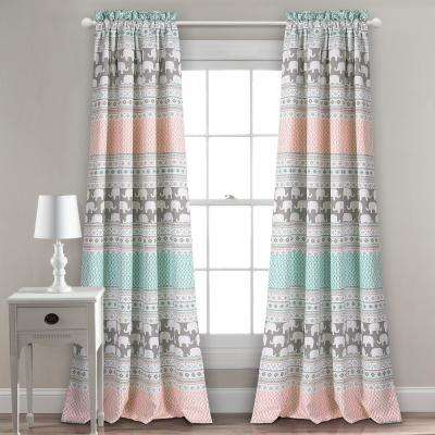 Elephant Stripe Juvy Window Panel Turquoise - 84 in. x 52 in.