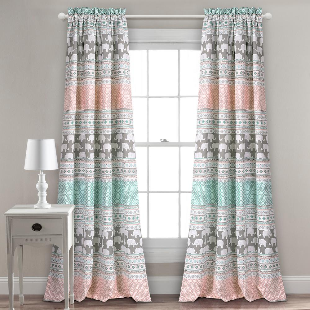 Lush Decor Elephant Stripe Juvy Window Panel Turquoise - 84 in. x 52 in.
